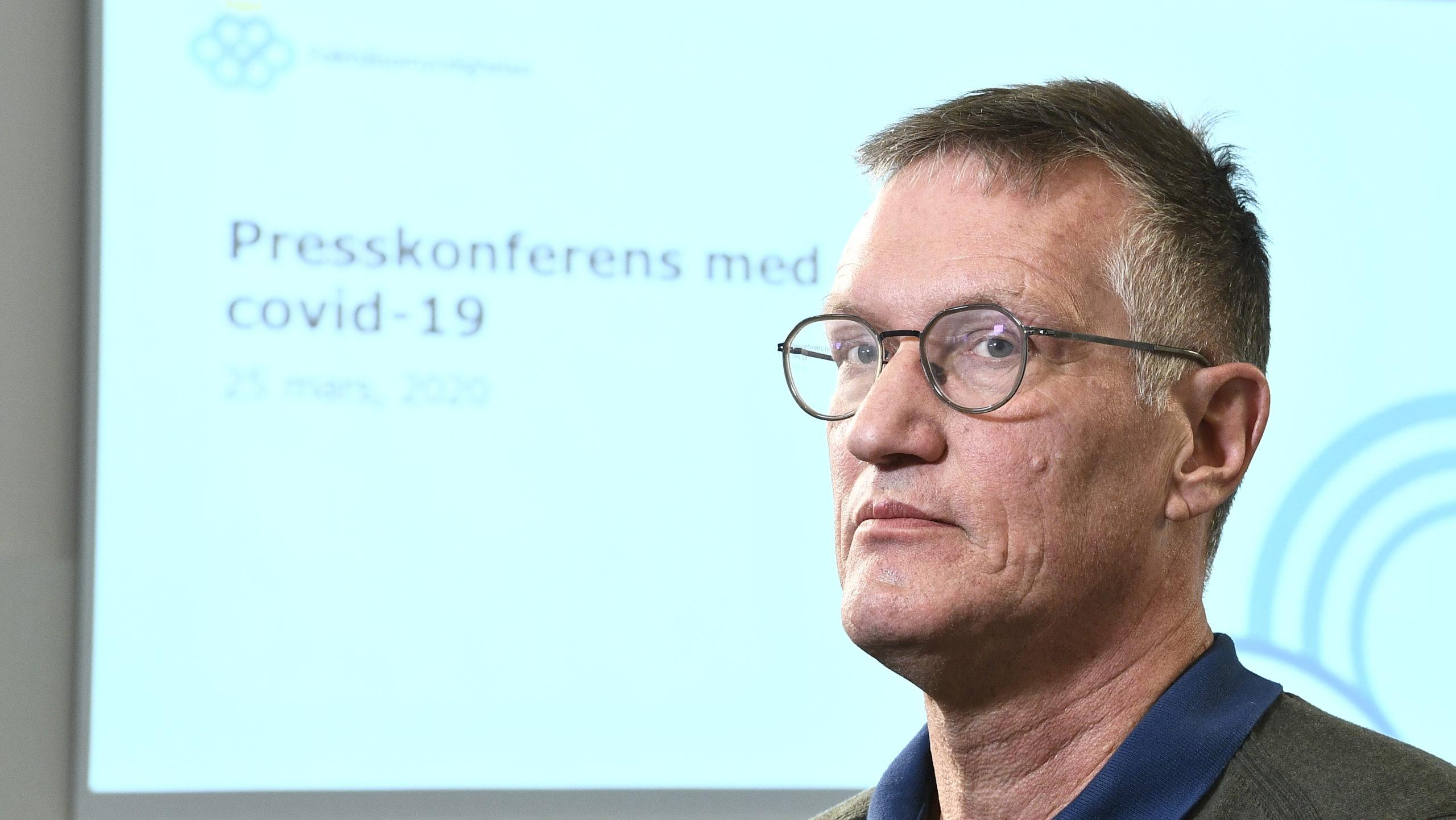 Statsepidemiolog Anders Tegnell, Folkhälsomyndigheten, vid onsdagens pressträff.